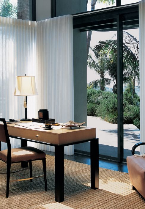 Office with a View of the Beach and White Transparent Curtains | Amy's Blinds on Marco Island, Florida