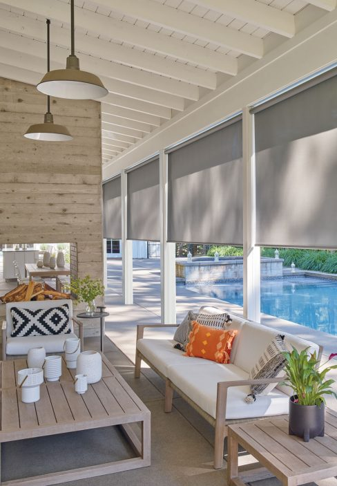 Pool Area with Roll Down Blinds | Amy's Blinds on Marco Island, Florida